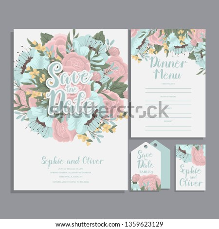 Set of card with flower rose, leaves. Wedding ornament concept. #1359623129