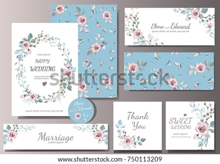 Set of card with flower rose, leaves. Wedding ornament concept. Floral magazine, poster, invite. Vector layout decorative greeting card or invitation design background #750113209