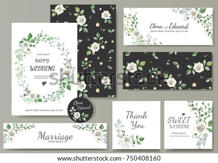 Green leaves collection vector download free vector art stock set of card with flower rose leaves wedding ornament concept floral magazine stopboris Images