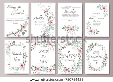 Set of card with flower rose, leaves. Wedding ornament concept. Floral magazine, poster, invite. Vector layout decorative greeting card or invitation design background #750756628