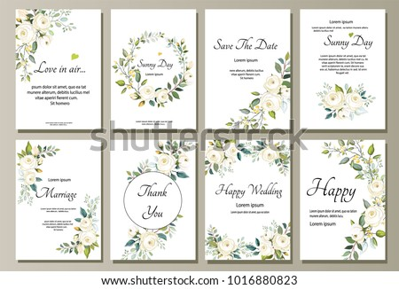 Set of card with flower rose, leaves. Wedding ornament concept. Floral poster, invite. Vector decorative greeting card or invitation design background