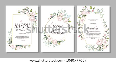 Set of card with flower rose, leaves. Wedding ornament concept. Floral poster, invite. Vector decorative greeting card, invitation design background