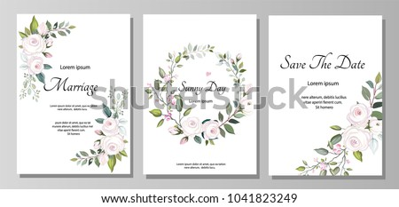 Set of card with flower rose, leaves. Wedding ornament concept. Floral poster, invite. Vector decorative greeting card, invitation design background #1041823249