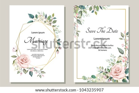 Set of card with flower rose, leaves. Wedding ornament concept. Floral poster, invite. Vector decorative greeting card or invitation design background #1043235907