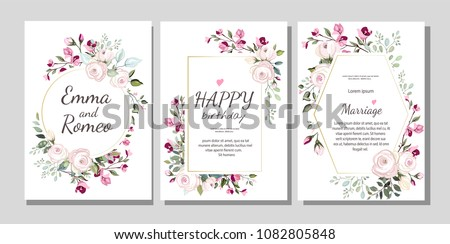 Set of card with flower rose, leaves. Wedding ornament concept. Floral poster, invite. Vector decorative greeting card or invitation design background #1082805848