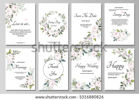 Set of card with flower rose, leaves. Wedding ornament concept. pink Floral poster, invite. Vector decorative greeting card or invitation design background #1016880826