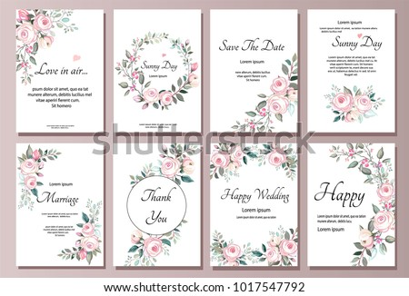 Set of card with flower rose, leaves. Wedding ornament concept. pink Floral poster, invite. Vector decorative greeting card or invitation design background