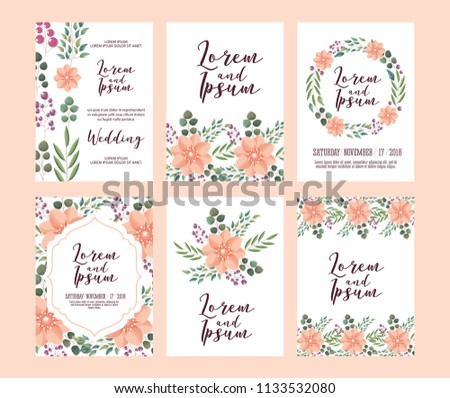 set of card with pink wild flowers leaves wedding ornament #1133532080