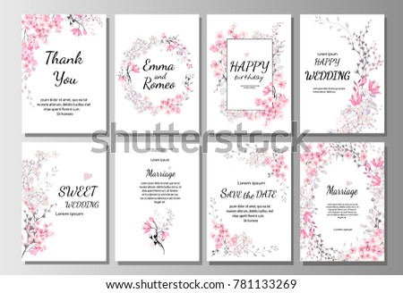 set of card with pink wild