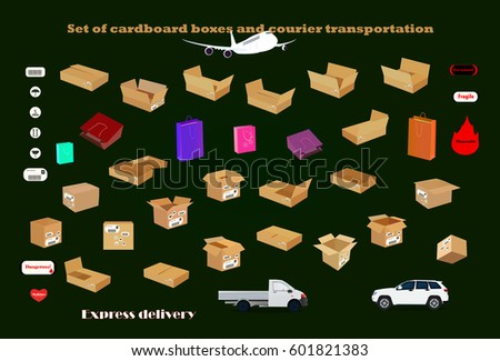 Set of cardboard boxes and courier transportation