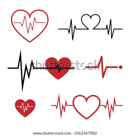 Set of Cardiogram Icons isolated on White. Vector Illustration. Flat Style. Simple Icons for Medical, Hospital, Cardio, Health, Heart, Love, Gift, Cardiogram of Love Decorative Design.
