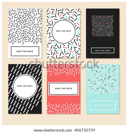 set of 6 cards abstract card