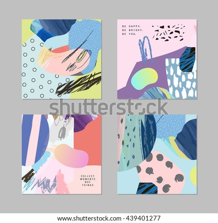 Set of cards and posters with creative collage, different textures and shapes. Modern graphic design.  Unusual artwork collection. Vector. Isolated