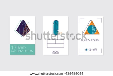 Set of cards and posters with crystals, feather and geometric outline shapes. Trendy hipster logotypes. Polygonal icons.