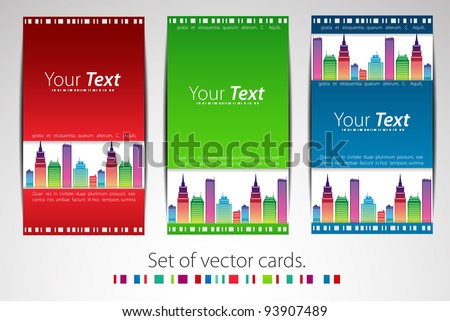 set of cards city theme vector