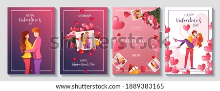 Set of cards for Happy Valentine's Day with young couples in love and romantic items. Relationship, Love, Valentine's day, Romantic concept. A4 vector illustration for banner, poster, card, postcard.