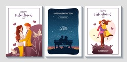Set of cards for Happy Valentine's Day with young couples in love. Relationship, Love, Valentine's day, Romantic concept. A4 vector illustration for banner, poster, card, postcard.