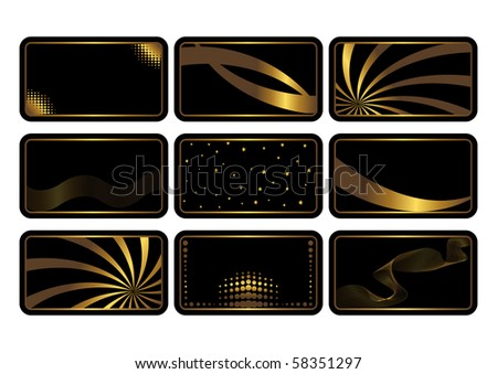 Set of cards, gold on the black. Business cards. Visiting cards. Invitations. Vector.