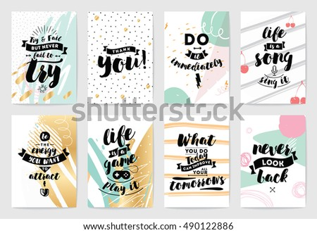Set of cards or posters with typography. Usable as flyer, banner or postcard. Vector lettering design. Scrapbooking or journaling cards with quotes.