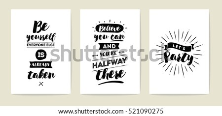 set of 3 cards or posters with