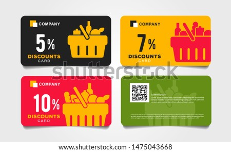 Set of cards, vouchers for grocery store with shopping basket pictogram full of meal goods, simple mordern graphic Stock photo ©