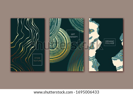 Set  of cards with abstract marble, stone texture. Dark green and golden colors. Organic  natural shapes.  Creative background. Minimal modern design.