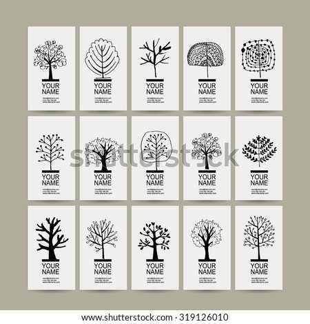 set of cards with art trees for