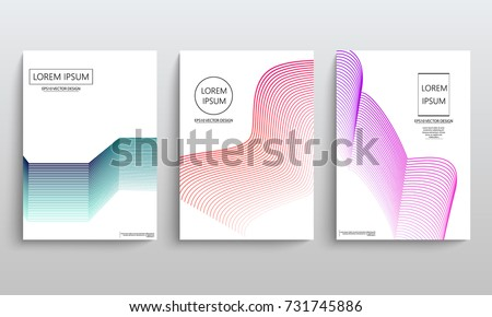 Set of cards with blend liqud colors. Futuristic abstract design. Usable for banners, covers, layout and posters. Vector. #731745886