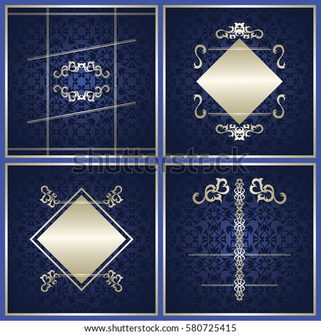 set of cards with blue