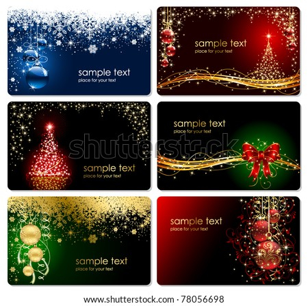 Set of cards with Christmas tree balls stars and snowflakes illustration