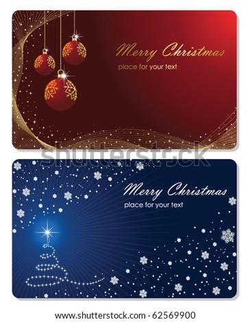 Set of cards with Christmas tree, Christmas balls stars and snowflakes, illustration