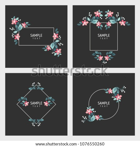 Set of cards with floral frames. Wedding ornament concept. Vector layout decorative greeting card or invitation design background
