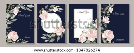 Set of cards with flowers, leaves. Roses. Decorative invitation to the holiday. Wedding, birthday. Universal card. Template for text.  Vector illustration. #1347826274