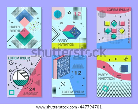 Modern geometric invitation download free vector art stock set of cards with geometric elements memphis style bright composition hipster party birthday card vector modern design wedding invitation stopboris Image collections