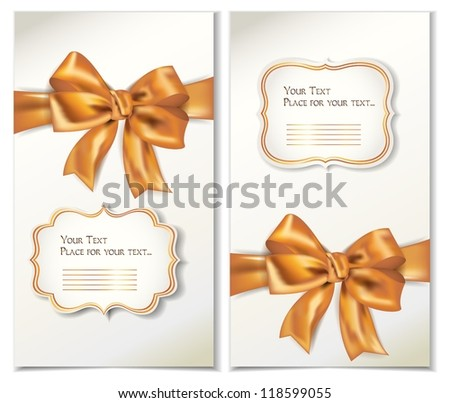 Set of cards with gold bows and ribbons
