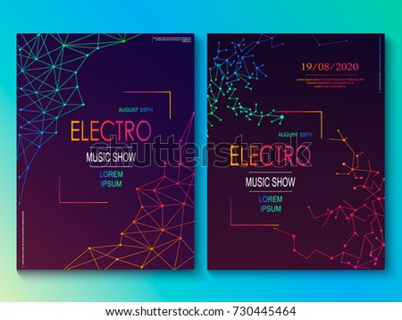 Set of cards with liqud colors. Futuristic abstract design. Usable for banners, covers, layout and posters. Electro club flyer. Vector.
