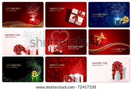 Set of cards with Presents, illustration