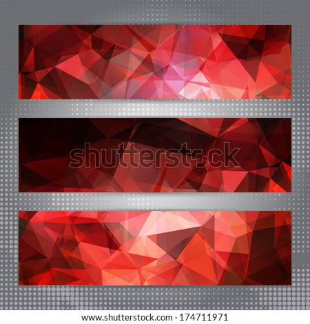 set of cards with shining red