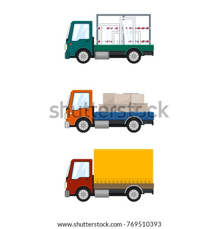 Set of Cargo Trucks, Car Transports Glass, Lorry with Boxes, Red Orange Small Truck, Delivery Services, Logistics, Shipping and Freight of Goods, Vector Illustration