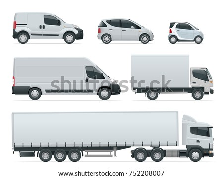 Set of cargo trucks side view. Delivery Vehicles isolated. Cargo Truck and Van. Vector illustration.