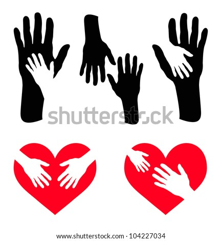 Set of caring hand and hand on red heart - Vector - stock vector