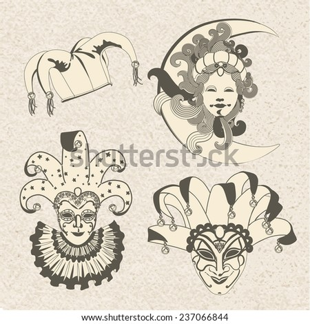 set of carnival masks mardi