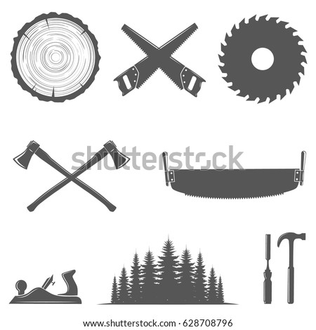 Set of carpentry tools,woodworkers, lumberjack, sawmill,hand tools,forest and tree trunk with rings.Monochrome.Design elements isolated on white background.