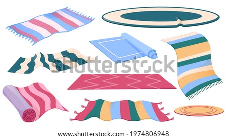 Set of carpets or rugs of different shapes, designs and colors. Floor covering, interior decor, mats with fringed edges, cozy home decoration isolated on white background, Cartoon vector illustration Stockfoto ©