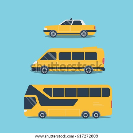 Set of cars, for travel, trips, taxi mini bus, and bus