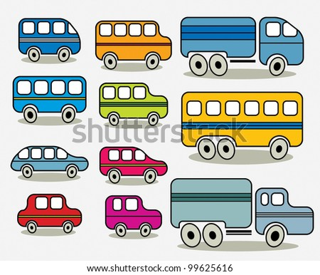 Set of cars icons, vector.