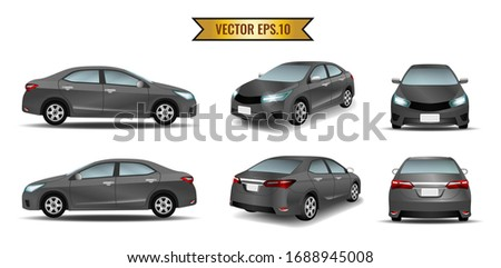 Set of cars in black color isolated on the background. Ready to apply to your design. Vector illustration. Сток-фото ©
