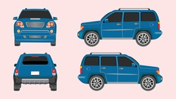 Set of cars in blue color isolated on background, Vector illustration.