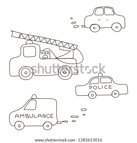 Set of cars included ambulance police fire truck and car. Vector illustration.