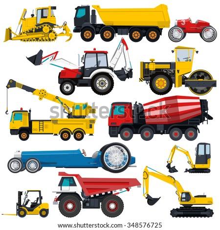 Set of cars on white background. Transportation big set. Heavy machine, vehicle, blue car, truck, digger, crane, forklift, small bagger, roller, extravator. Flatten isolated illustration vector.